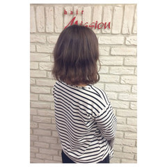ボブ ラベンダーアッシュ パープル ベージュ ヘアスタイルや髪型の写真・画像