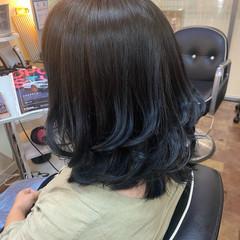 ミディアム ブルー ブルーアッシュ ブルーグラデーション ヘアスタイルや髪型の写真・画像