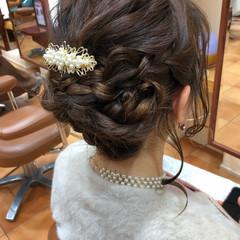 簡単ヘアアレンジ ヘアアレンジ ミディアム 結婚式 ヘアスタイルや髪型の写真・画像