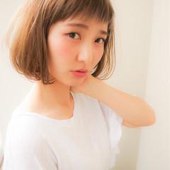 ガーリー ボブ フェミニン 小顔 ヘアスタイルや髪型の写真・画像