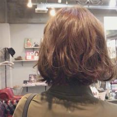 ワンレングス ボブ ナチュラル パーマ ヘアスタイルや髪型の写真・画像