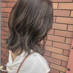 大人かわいい ヘアアレンジ ハイライト ミディアム ヘアスタイルや髪型の写真・画像