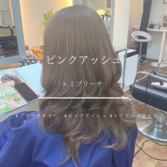 ピンク アッシュ ブリーチ ピンクアッシュ ヘアスタイルや髪型の写真・画像