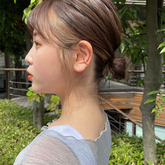 ミディアム シースルーバング インナーカラー 簡単ヘアアレンジ ヘアスタイルや髪型の写真・画像