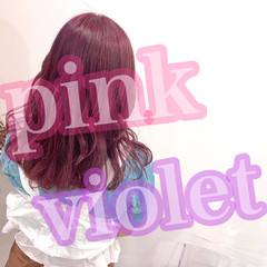 ピンクパープル ラベンダー ピンクラベンダー ガーリー ヘアスタイルや髪型の写真・画像