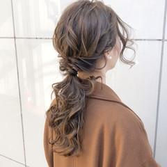 簡単ヘアアレンジ デート ロング ナチュラル ヘアスタイルや髪型の写真・画像