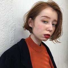 ボブ 抜け感 オレンジ イエロー ヘアスタイルや髪型の写真・画像