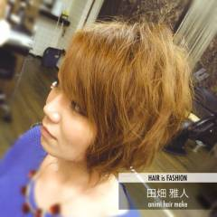 丸顔 ボブ パーマ ストリート ヘアスタイルや髪型の写真・画像