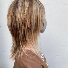 バレイヤージュ ハイライト ブリーチ ホワイトハイライト ヘアスタイルや髪型の写真・画像