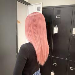 艶髪 ナチュラル ピンク ストレート ヘアスタイルや髪型の写真・画像