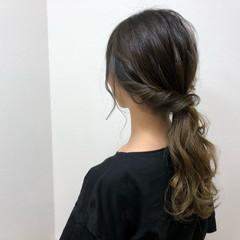セミロング ヘアアレンジ イルミナカラー 結婚式 ヘアスタイルや髪型の写真・画像