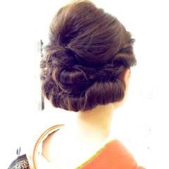 和装 シニヨン 大人かわいい ナチュラル ヘアスタイルや髪型の写真・画像