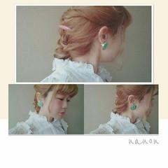 編み込み ロング 簡単ヘアアレンジ ショート ヘアスタイルや髪型の写真・画像
