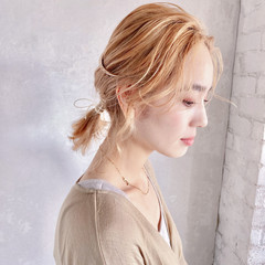 ヘアセット ナチュラル お呼ばれヘア セミロング ヘアスタイルや髪型の写真・画像