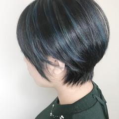 コントラストハイライト ベリーショート ブルー モード ヘアスタイルや髪型の写真・画像