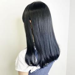 ナチュラル ダークカラー ロング ブルーブラック ヘアスタイルや髪型の写真・画像