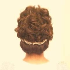 編み込み ヘアアレンジ コンサバ 結婚式 ヘアスタイルや髪型の写真・画像