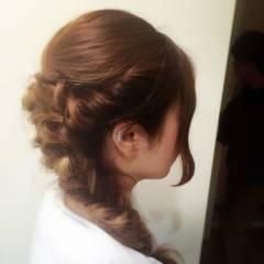 ナチュラル 大人かわいい 編み込み ヘアアレンジ ヘアスタイルや髪型の写真・画像