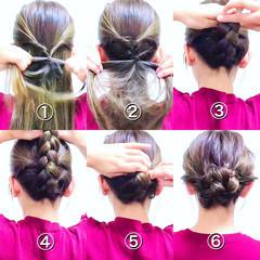 三つ編み エレガント セルフヘアアレンジ ヘアアレンジ ヘアスタイルや髪型の写真・画像
