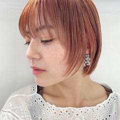 ショートヘア ショート ナチュラル オレンジカラー ヘアスタイルや髪型の写真・画像