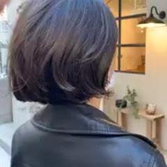 切りっぱなしボブ ゆるふわ 大人かわいい グラデーションカラー ヘアスタイルや髪型の写真・画像