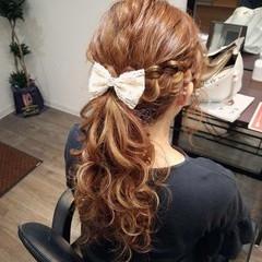 ロング ポニーテール ガーリー ヘアアレンジ ヘアスタイルや髪型の写真・画像