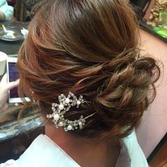 編み込み パーティ アップスタイル ロング ヘアスタイルや髪型の写真・画像
