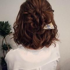 フェミニン ヘアアレンジ ボブ ハーフアップ ヘアスタイルや髪型の写真・画像