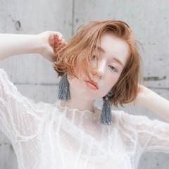 ショート オレンジ ショートボブ ベージュ ヘアスタイルや髪型の写真・画像