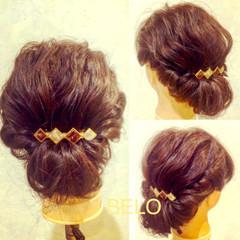 ミディアム ギブソンタック 簡単ヘアアレンジ ゆるふわ ヘアスタイルや髪型の写真・画像