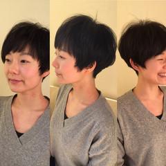 ショート 黒髪 小顔 ナチュラル ヘアスタイルや髪型の写真・画像