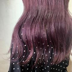 パープルカラー パープル ピンクブラウン ガーリー ヘアスタイルや髪型の写真・画像