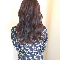 波ウェーブ ピンクアッシュ セミロング 外国人風カラー ヘアスタイルや髪型の写真・画像
