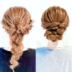 三つ編み ヘアセット アップスタイル 編みおろし ヘアスタイルや髪型の写真・画像