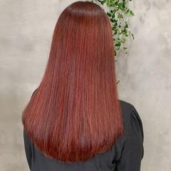ロング レッドカラー 韓国 オシャレ ヘアスタイルや髪型の写真・画像