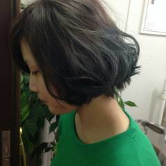 ストレート グラデーションカラー ストリート ボブ ヘアスタイルや髪型の写真・画像