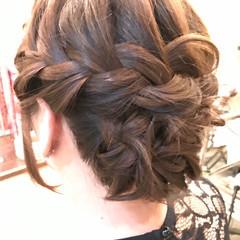 まとめ髪 外国人風カラー ミディアム 編み込み ヘアスタイルや髪型の写真・画像