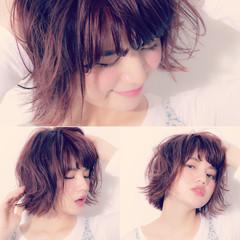 ピンク ボブ ショートボブ ガーリー ヘアスタイルや髪型の写真・画像