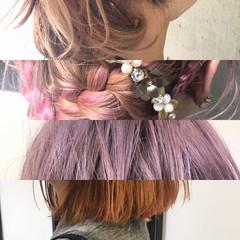 ボブ ハイライト ミルクティー フリンジバング ヘアスタイルや髪型の写真・画像