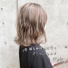 ミルクティーグレージュ アッシュ ナチュラル ボブ ヘアスタイルや髪型の写真・画像