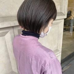 ナチュラル ミニボブ 切りっぱなしボブ ショート ヘアスタイルや髪型の写真・画像