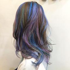 グラデーションカラー ハイライト ユニコーンカラー インナーカラー ヘアスタイルや髪型の写真・画像