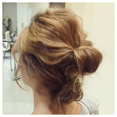 ヘアアレンジ ロング お団子 ギブソンタック ヘアスタイルや髪型の写真・画像