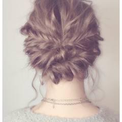 アップスタイル ゆるふわ 編み込み モテ髪 ヘアスタイルや髪型の写真・画像
