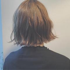 ナチュラル ニュアンス ミルクティー ボブ ヘアスタイルや髪型の写真・画像