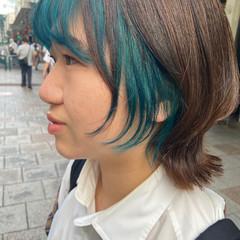 ターコイズ ブリーチ ブリーチカラー インナーカラー ヘアスタイルや髪型の写真・画像