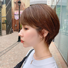 ハイライト 髪質改善 小顔 ショートヘア ヘアスタイルや髪型の写真・画像