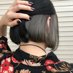 モード ボブ インナーカラー 女子力 ヘアスタイルや髪型の写真・画像