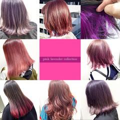 ヘアカラー ピンクパープル セミロング ピンクラベンダー ヘアスタイルや髪型の写真・画像
