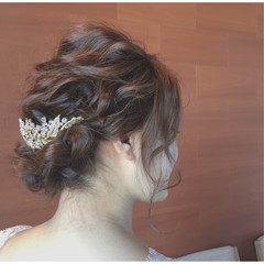 ヘアアレンジ 上品 波ウェーブ エレガント ヘアスタイルや髪型の写真・画像